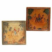 "2 Vintage California Art Tile Lot 6"" Square OASIS ORIENTAL SCENE NR"