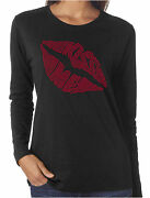 Kiss Me Lips Rhinestone Womenand039s Long Sleeve Shirts Sexy Valentineand039s Day