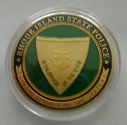 Rhode Island State Police  24k Gold Plated 40 Mm Challenge Coin