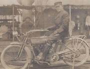 1910s Rp Postcard United States Navy Officer And Harley Davidson Motorcycle