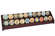 20 Challenge Coin 2 Row Chip Display Case Holder Rack Casino Coins Stand