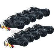 10x 50ft Cctv Bnc Rca Video Audio Power Security Camera Dvr Cable Wire Cord B5p