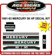 1991 1992 1993 Mercury 90 Hp Reproduction Outboard Decals 75 100 115 Hp Also