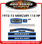 1972 1973 115 Hp Mercury Outboard Decal Set 1150 Decals Merc