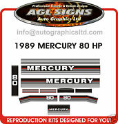 1989 Mercury 80 Hp Outboard Decal Set Also In 70 And 90 Hp