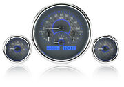 Dakota Digital Universal 3 Round Analog Gauge Kit Carbon Fiber Blue Vhx-1013-c-b