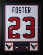 Arian Foster Framed And Autographed White Texans Jersey Auto Jsa Coa D3-s