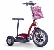 Red 3 Wheel Scooter You Can Sit Or Stand To Ride 300 Lb Cap 15 Mph 20 Miles