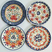 Polish Pottery 4 Bread And Butter Plates 6.5/17cm, 2 Signed, 1 Unikat