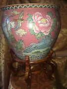 Antique Stunning Chinese Hummingbird And Butterflies And Flowers Pot Planter Vase