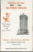 1959 Baltimore Orioles First National Bank Pocket Schedule Tri-fold