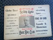 1904 Baltimore Orioles Base Ball Club Program With Robinson Blomeand039s Chocolates