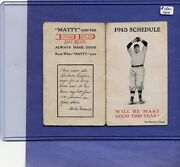 1913 New York National Baseball Schedule With Christy Mathewson Pictured