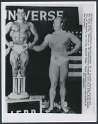 1959 Mr. Universe Edouard Sylvetre Of Mexico Poses With Trophy Vintage Photo