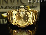 Men Pro Diver 24 Jewel Automatic Nh35a 18k Gold Plate Ss Champagne Watch