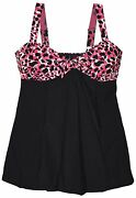 New Simply Fit Women's Plus Size Swimdress Swimsuit Knot Blk Pink 16 18 20 22