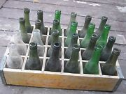 Used Vintage Coca Cola Yellow Wood Crate And 24 Empty Bottles Green Badger State