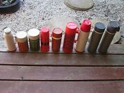 9 Pc Vintage Used Assorted Thermos Cooler Food Metal / Plastic Great For Decor