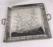Antique Pewter Flowers Double Handled Serving Platter Tray