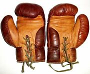 Vintage Circa 1960 Leather Kids Boxing Gloves Very Good Condition From Pakistan