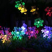 Solar Powered String Lights 20led 4.8m Snowflake Outdoor Christmas Decorations
