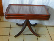 Walnut Coffee Table By Queencity With Glass Serving Tray Ct169