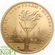 Aa3325 Russland 100 Rubel 1980 - Olympiade Moskau - Olympische Flamme - Gold