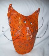 """10"""" Red Clay Folk Art Handmade Pottery Wall Decor Hanging African Tiger Mask"""
