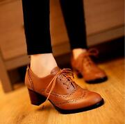 New Womens Brogue Lace Up Low Thick Heel Oxfords Retro Casual Shoes Us Size 5-11