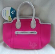 Built Ny Neoprene Adela Pink Gray Machine Washable Insulated Lunch Bag Tote New