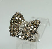 Ooak 14k White Gold Champagne Brown White Diamond Butterfly Statement Ring