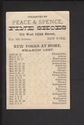 1887 New Yorks York Baseball Base Ball Schedule Trade Card Peace And Spence