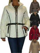 Ice Plus Size Quilted Jacket Hood Lightweight Coat With Belt 12-22