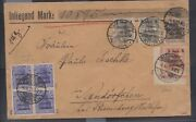 Marienwerder 20pfg Blue With Inverted Surcharge Block Of 4 On Cover Michel 16k