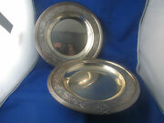 Antique Pair Plates Solid Silver Punch Minerve Time 19 Style L Xvi