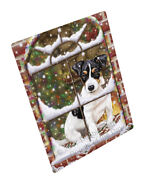 Please Come Home For Christmas Jack Russell Dog Woven Throw Sherpa Blanket T258