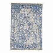 6and0391and039and039x9and039 Denim Blue Wool And Silk Hand-knotted Broken Farsian Design Rug R38223