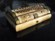 Antique Hebrew Torah Bovine Bone Carving Box With Brass Trim 6 By 4 By 2