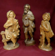 Antique Pro Carved Wooden Shepherds Nativity Statue Figurines 12-14.5 Big