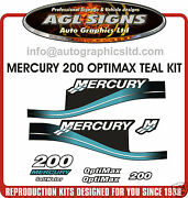 Mercury 200 Optimax Teal Outboard Decal Set 150 225 250 Saltwater Efi