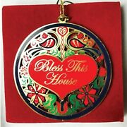 Christmas Ornament Amish Country Brass Bless This House Size 2.25 Inches 24050