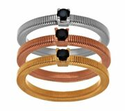 Italian Silver Sterling Set Of 3 Black Spinel Tri-color Rings Size 6 Qvc 106.00