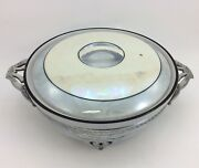 Fraunfelter Vintage Iridescent Violet Covered Casserole W/ Stand Royal Rochester