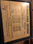 Authentic Pennsylvania Railroad Station Sign Train Depot Rare Historical Hours