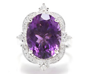 9.75 Carats Natural Amethyst And Diamond 14k Solid White Gold Ring