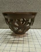 Earthy Brown Sage Pottery Bowl with Holes Vase Planter High End Signed 2007