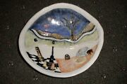 """LAURA WILINSKY WALL ART POTTERY 9"""" BOWL RABBITS LIVING UNDERGROUND EXCELLENT"""