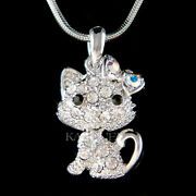 Cute Movable Kitty Cat Kitten Made With Crystal Charm Chain Necklace