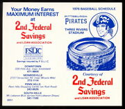1976 Baseball Pittsburgh Pirates Pocket Schedule Unfolded And Unmarked Nm Original