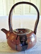 Art Pottery Studio Handmade TEAPOT High Fire Earth Tone Brown Vintage Sgnd 1980s